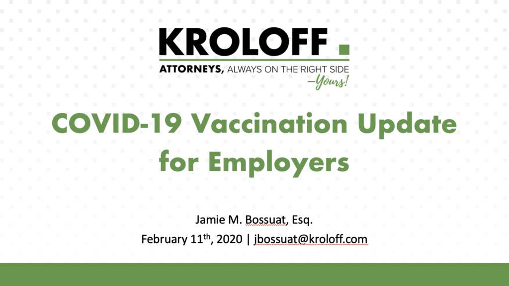 COVID-19 Vaccination Update for Employers